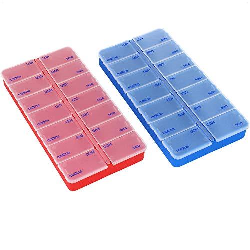 com-four® 2X Porta pastiglie settimanale in Italiano - Porta compresse per 7 Giorni - 2 Scomparti ciascuno - Dispenser Pillole [Italiano] (Blu Scuro + Rosso)