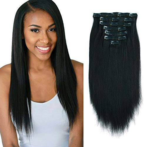 Lovrio Hair 9A Grade Real Remy Thick Yaki Straight Clip in Hair Extensions for African American Women, Double Lace Wefts Big Thicker Unprocessed Natural Black Color Hair, 7 Pcs 120g YK 14'