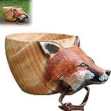 Taza de Madera Tallada a Mano de Kuksa, Taza con imagen de cabeza de animal, Taza de madera para acampar, Bonito regalo para viajeros (Zorro)