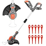 Terratek Cordless Strimmer 18V/20V-Max Lithium-Ion, Telescopic Lightweight Powerful Grass Trimmer,...