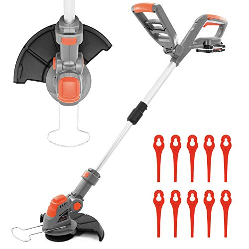 Terratek Cordless Strimmer 18V/20V-Max Lithium-Ion, Telescopic Lightweight Powerful Grass Trimmer, 25cm Cutting Diameter, Battery, Charger & Quick Change Spare Blades Included,Grass Edger Lawn Cutter…