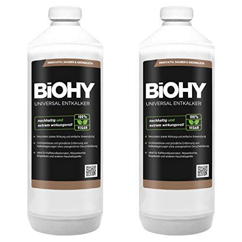 BiOHY Universal Entkalker (2x1l Flasche) | Konzentrat für 20 Entkalkungsvorgänge pro Flasche | Kompatibel mit allen Kaffeevollautomaten & Espressomaschinen