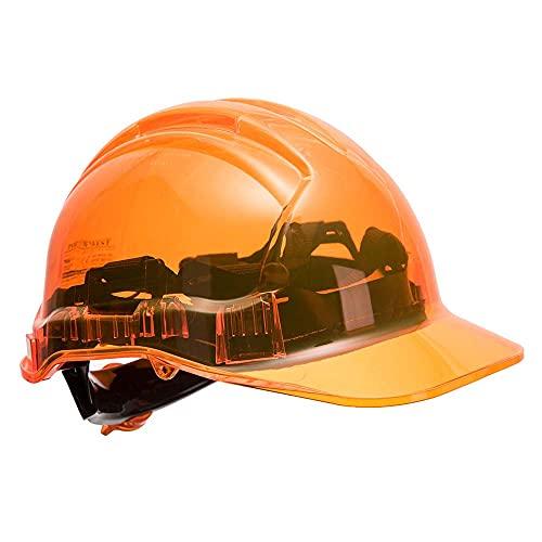 Portwest pv64orr serie PV64pico vista trinquete translúcido duro sombrero casco, Regular, color naranja