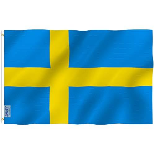 ANLEY Fly Breeze 3x5 Foot (90x150 cm) Zweden Vlag - Levendige Kleur en UV Vervagend - Canvas Koptekst en Dubbel Gestikt - Zweedse Vlaggen Vlaggen Polyester met Messing Grommets 3 X 5 Ft