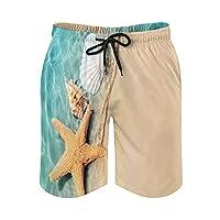 海水のビーチでのヒトデと貝殻 メンズフィットネス 速乾 半ズボン 吸汗 夏 スポーツショーツ スウェット 短パン ポケット付きビーチパンツ