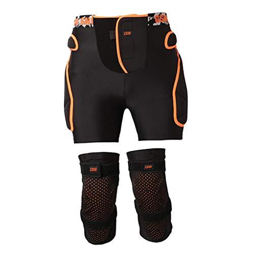 Baoblaze Schutzhosen Gepolsterte Protektorhosen Protektorshort Snowboard Shorts Sporthose mit Knieschoner Unisex Knie-Protektoren - Schwarz L XL