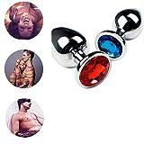 Z-one 1 2 pezzi S e M, giocattolo in metallo, cristallo, gioiello per lui o lei (blu e rosso)