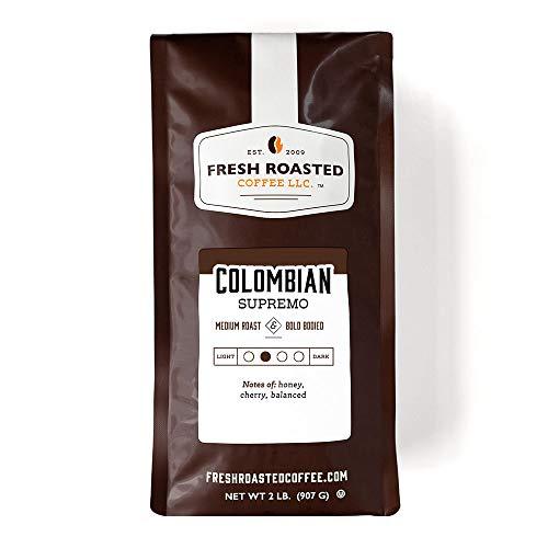 Fresh Roasted Coffee LLC, Colombian Supremo Coffee, Medium Roast, Whole Bean, 2 Pound Bag