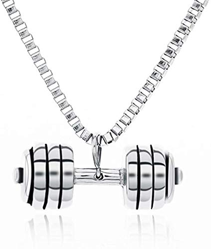 CCXXYANG Co.,ltd Necklace Stainless Steel Fitness Barbell Pendant Necklace Bodybuilding Athlete Necklaces Jewelry for Men Women Gift