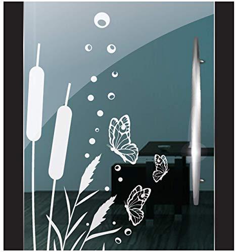 DD Dotzler Design 271020 Milchglasfolie Schilfgras Blumen 3 Schmetterlinge Fensterbild für Glastür Fenster Duschkabine
