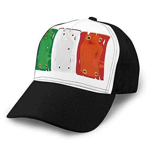 LJKHas232 Classic Cotton Hat Adjustable Plain Cap, Baseball Cap Adjustable Size Curved Visor Hat Italian Flag Painted on Wooden Planks Isolated Men Women Hat