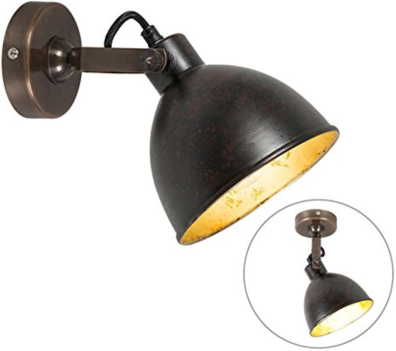 QAZQA Landhaus Vintage Rustikal Wandleuchte im Landhausstil braun - Liko 9   Innenbeleuchtung Wohnzimmerlampe Schlafzimmer Küche Metall Rund LED geeignet E27 Max. 1 x 25 Watt