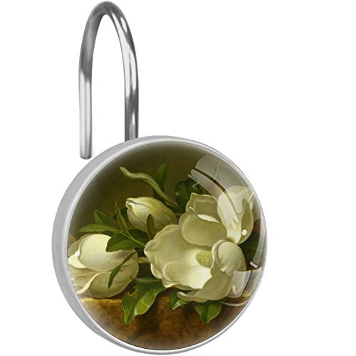 imobaby 12 Pcs Martin Johnson Heade Magnolias Shower Curtain Hooks,Round Crystal Glass Shower Curtain Hooks for Bathroom and Living Room Decorative