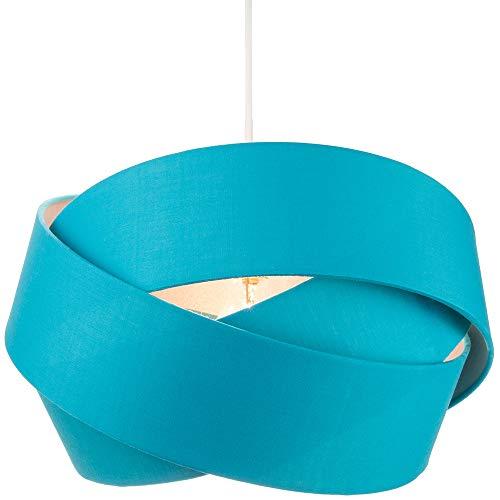 Designer Triple Ring groenblauw katoenen stof hanger schaduw met zilveren satijn binnenkant