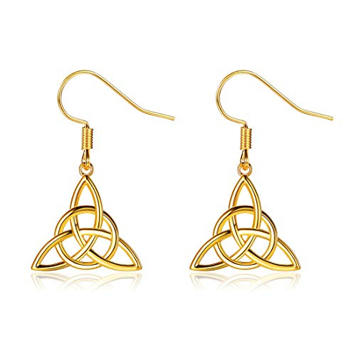 ChicSilver Gold Celtic Knot Drop Earrings for Women Teen Girls 18K Gold Plated Good Luck Irish Celtic Triquetra Triangle Trinity Knot Drop Dangle Earrings Dainty Sterling Silver Celtic Jewelry Gifts