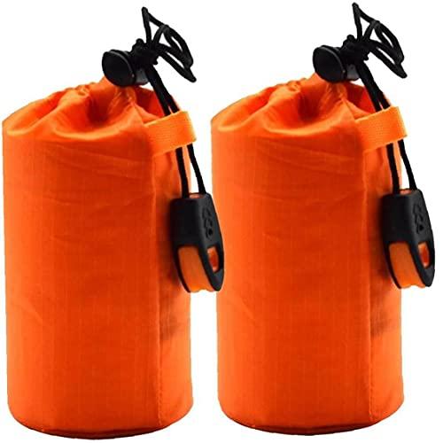 Onsinic Saco De Dormir Ligero Paquete De 2 Sacos De Dormir De Supervivencia Térmica Bivy Saco Manta De Emergencia Portátil para Acampar, Aire Libre, Actividades Naranja De Emergencia
