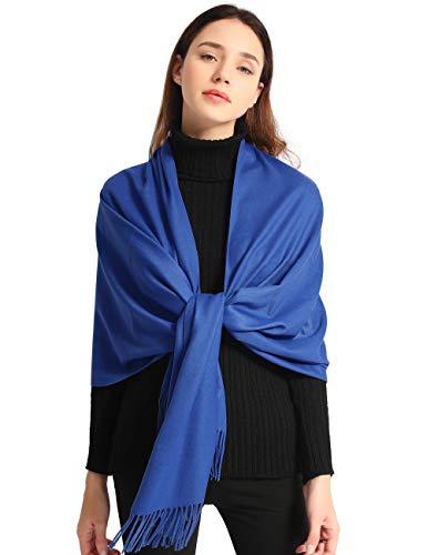 EASE LEAP Bufanda Mujer con Tacto Cachemira Fiesta Chal para Boda Suave Pashmina 200 * 70cm/(Azul)