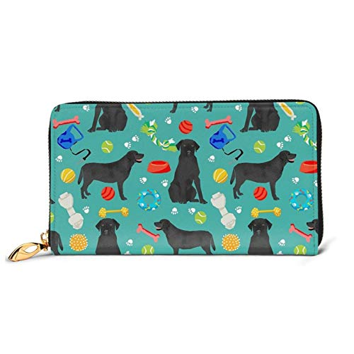 Black Lab Dog Toys Ladies Purse Large with Multiple Card Slots Capacity Leather Women's Wallet Long Clutch Wallet