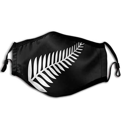 Paño de relleno para,Nueva Zelanda plata helecho emblema blanco en negro,Paño reutilizable resistente al viento media cara doble protección