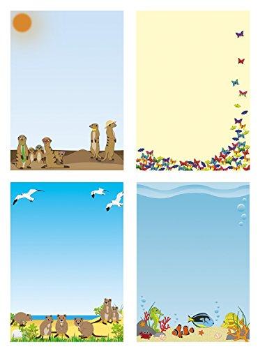 Briefpapiermappe - tierisch-witzig Mix 4x5 Blatt Briefpapier und 4x5 Briefumschläge Mix2+BU