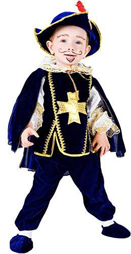 Costume di Carnevale da Piccolo Moschettiere Vestito per Neonato Bambino 0-3 Anni Travestimento Veneziano Halloween Cosplay Festa Party 2924 Taglia 2