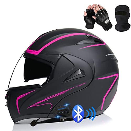 HOMFLOW Bluetooth Casco Moto Modular con Doble Visera En Integrado De Intercomunicación Sistema ECE Homologado con Mascara Facial Y Guantes Adultos Unisex (Color : X, Size : XL/X-Large 60-61CM)