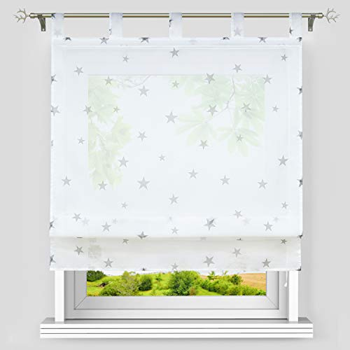 Heichkell Voile Raffrollo Sterne Muster Transparente Raffgardine mit Schlaufen Sterne Schlaufenrollo Kinderzimmer Vorhang BxH 60x140cm Weiß-Grau