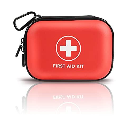 Kit primeros auxilios-botiquin de primeros auxilios mini bolso médico portátil de viaje, bolsa de almacenamiento, bolsa de senderismo, accesorios para exteriores, bicicleta y viaje (rojo)