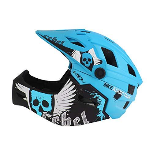 Fahrradhelm Mountainbike Ausrüstung Kinder Vollhelm Skating Schutzausrüstung Fahrrad Balance Auto Sicherheitsmütze Motocross Helm Kinderhelm S blau