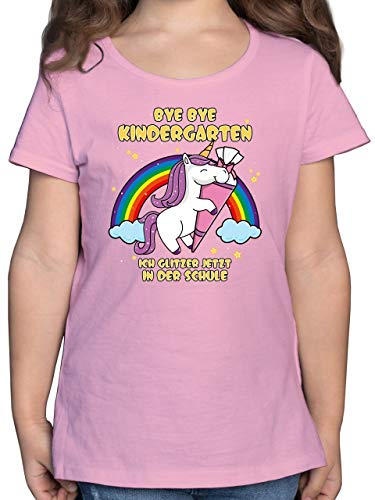 Einschulung und Schulanfang - Bye Bye Kindergarten ich Glitzer jetzt in der Schule Einhorn Schultüte - 116 (5/6 Jahre) - Rosa - t Shirt Kindergarten Schule - F131K - Mädchen Kinder T-Shirt