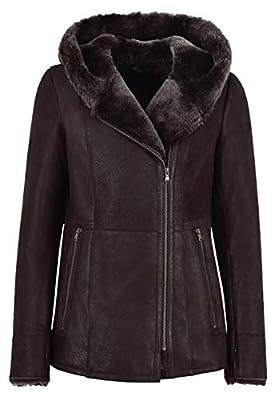 Ladies B3 Flying Sheepskin Shearling Jacket Dark Berry Fur Hooded Genuine NV 39 (UK 12/ US 8)