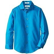 Calvin Klein Boys' Long Sleeve Sateen Dress Shirt