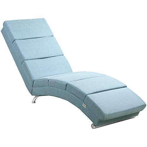Casaria Relaxliege Liegesessel London Wohnzimmer Leinen Optik Petrol Ergonomisch 186x55cm Modern Relaxsessel Liegestuhl