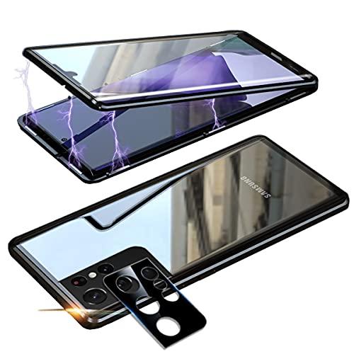Cover per Samsung Galaxy S21 Ultra 5G Anti Spy Custodia,360° Privacy Vetro Temperato Protezione Cover,Anti Peep Magnetico Metallo Telaio Antiurto Rugged Paraurti Anti-Spia Case per S21 Ultra-Nero