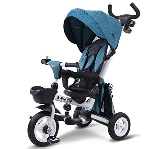 Kinder 3-Rad-Fahrrad, Klappbaby 1-3-5 Jahre alt Trolley Selbstfahrender Kinderwagen Wendbare tragbare Markise Regen (Color : Blue)