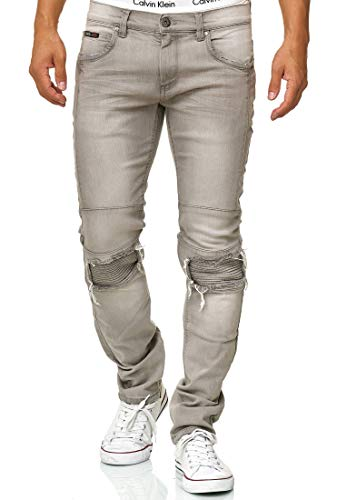 Indicode Herren Nevada Jeanshose aus Baumwolle mit Stretch-Anteil | Herrenjeans Destroyed Look Denim Stretch Jeans Hose Herrenhose Regular fit Straight Men Pants f. Männer Lt Grey 33/34