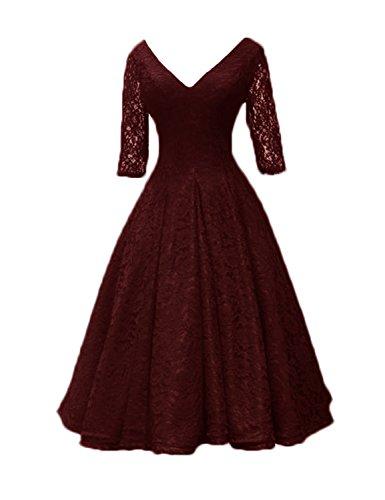 Stillluxury Midi Abendkleider mit Ärmeln Übergröße Spitze Brautmutter Kleid Teelänge E54A Gr. 36, burgunderfarben