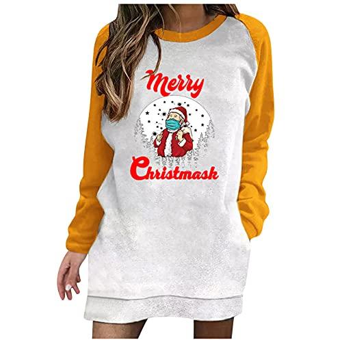 BIKETAFUWY Vestido de Navidad para mujer con estampado de renos Ugly, vestido de manga larga, jersey de Navidad, con capucha, vestido de bolsillo, amarillo, S