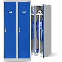 Taquilla de acero armario perchero taquilla Ropa taquilla doble taquilla 2columnas puertas correderas separador revestimiento de polvo 180cm x 80cm x 50cm (H x B x T) (gris/azul)