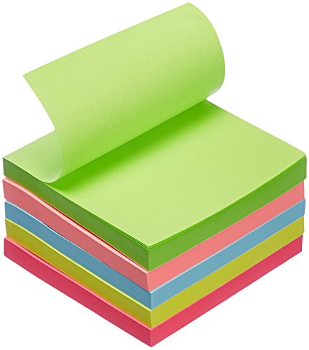 """Amazon Basics Sticky Notes - 3"""" x 3"""", Assorted Colors, 5-Pack"""