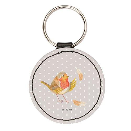 Mr. & Mrs. Panda Schlüsselband, Glücksbringer, Rund Schlüsselanhänger Rotkehlchen mit Federn - Farbe Grau Pastell