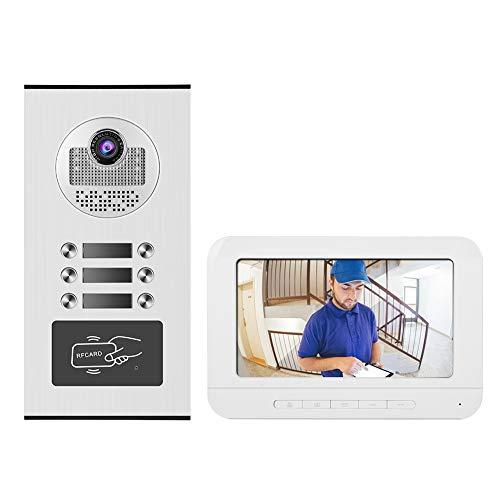 Dpofirs Juego de Timbre con Videoportero con 7 Pulgadas Monitor LCD, Kit de Timbre de Puerta con Visión Nocturna por Infrarrojos, 3 Monitores Videoportero Multifuncional(European Standard (100-240v))
