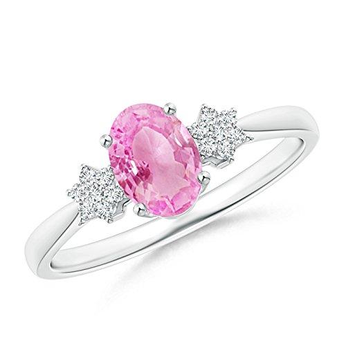 Angara.com  -  Gold 14 Karat (585)  14 Karat (585) Weißgold Ovalschliff    Diamant Pinkfarbener Saphir