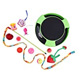 PAWZ Road Cat Interactive Toys Assortments 12 PCS - Cat Roller Mouse Toy & Feather Teaser, Endless Interactive Play & Mental Physical Exercise for Cats Green
