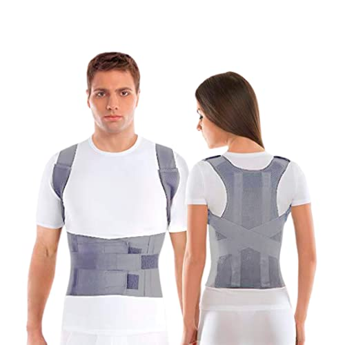 Posture Corrector Shoulder Support Back Brace, Fully Adjustable, Medical Device Providing Pain Relief for Neck, Breathable Fabric Lumbar Support Brace, TYP 656 Original by TOROS-GROUP (GREY Small)