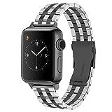 Juntan 5 Filas Negro Plata Correa Reloj Compatible for Apple Watch 38mm 40mm iWatch Series 6 5 4 3 2 1 SE Sport Acero Inoxidable Adaptador Hebilla Negra