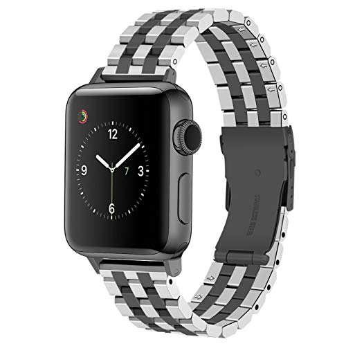 Juntan Correa Reloj Acero Inoxidable Compatible for iWatch 38mm 42mm 40mm 44mm Apple Watch Series 6 5 4 3 2 1 SE Sport 5 Filas Negro Plata Rosa Oro