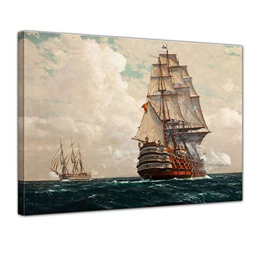 Wandbild Michael Zeno Diemer Schiff auf dem Meer - 60x50cm quer - Alte Meister Berühmte Gemälde Leinwandbild Kunstdruck Bild auf Leinwand