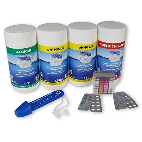 myPool Seerose Wasserpflege-Grundausstattungsset 4,5kg Chlor Algenschutz pH Minus/Plus Thermometer Wassertestgerät