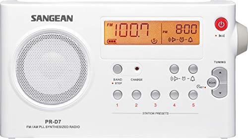 Sangean PR-D7 tragbares Radio (UKW/MW-Tuner, Kopfhöreranschluss, Weckfunktion, Netz/Batteriebetrieb) weiß